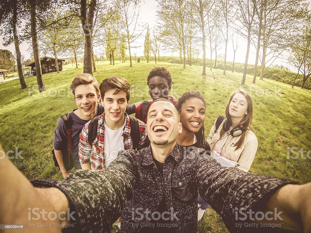 Selfie of a group of multi ethnic teenagers stock photo