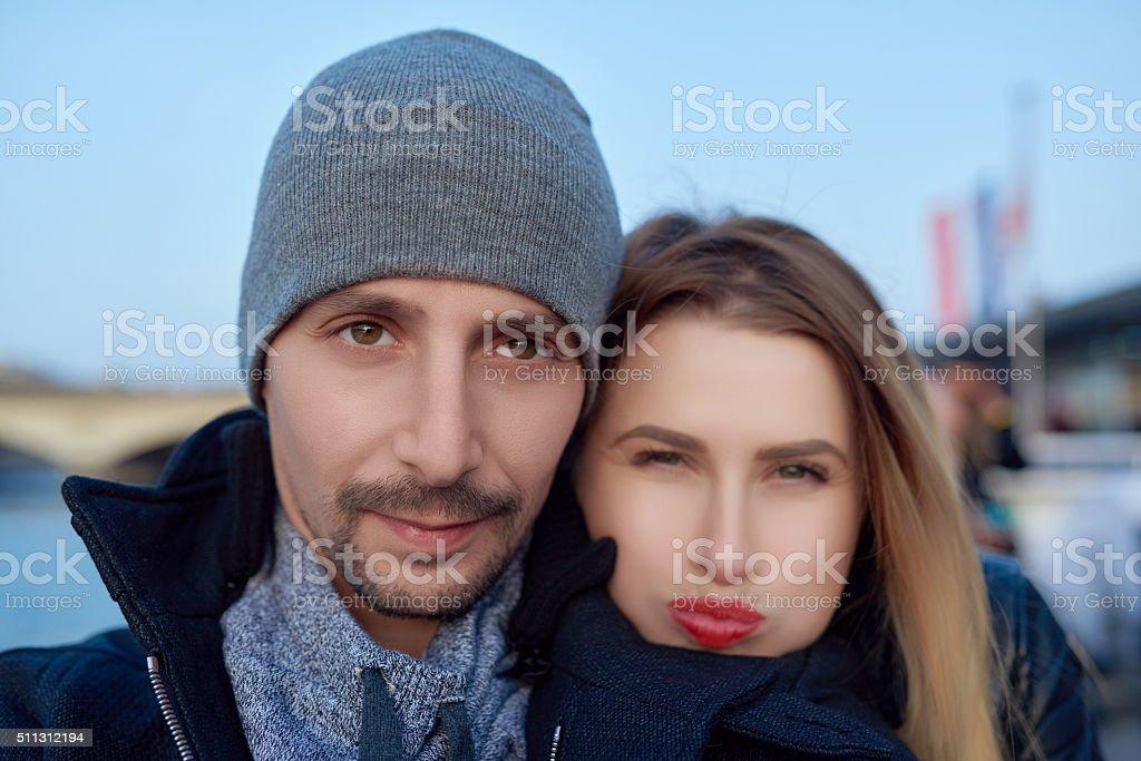 selfie of beautiful couple stock photo