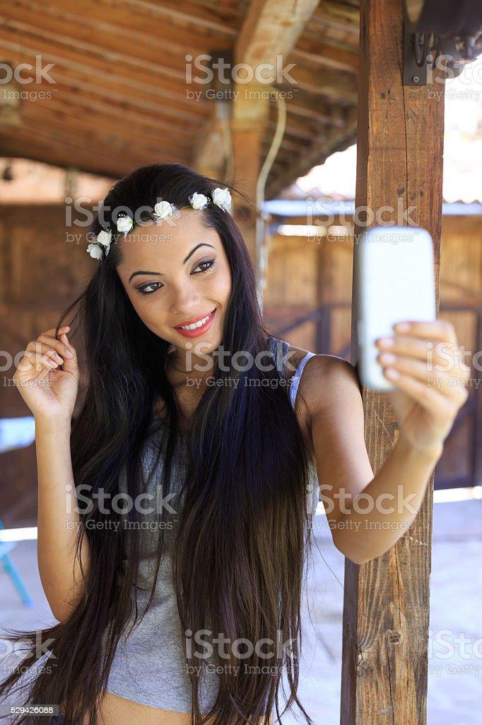 Selfie of beautiful young woman stock photo