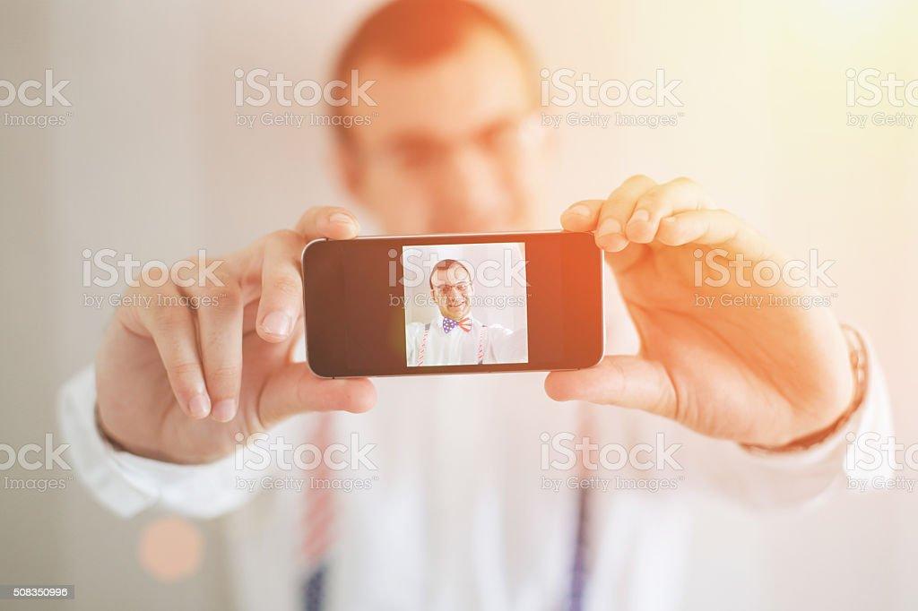 Selfie of fashion American guy! stock photo