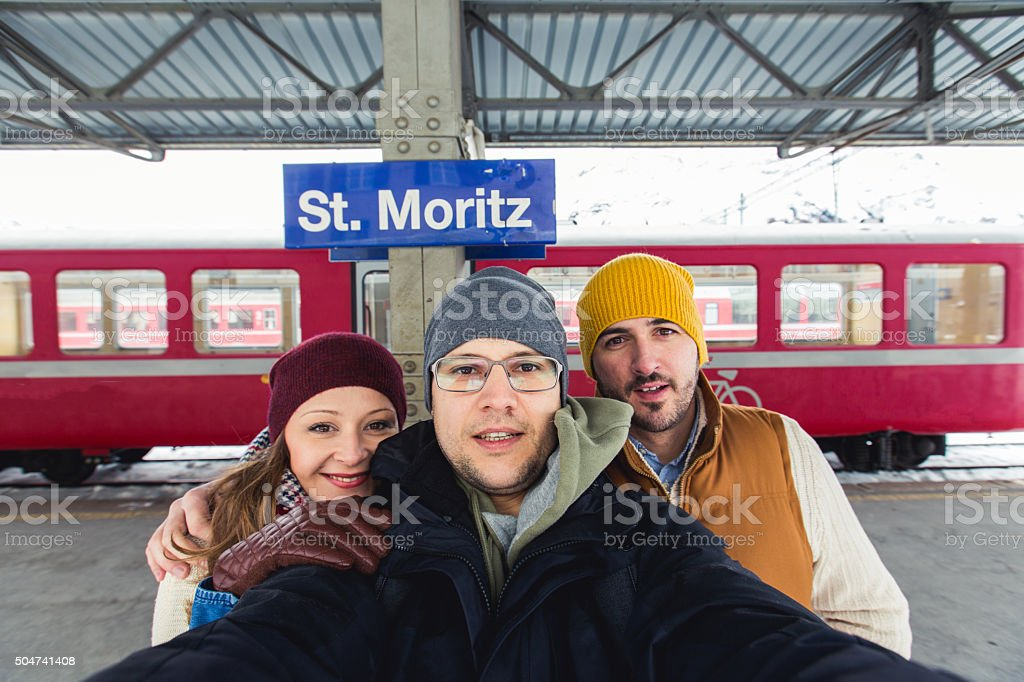 Selfie of friends stock photo