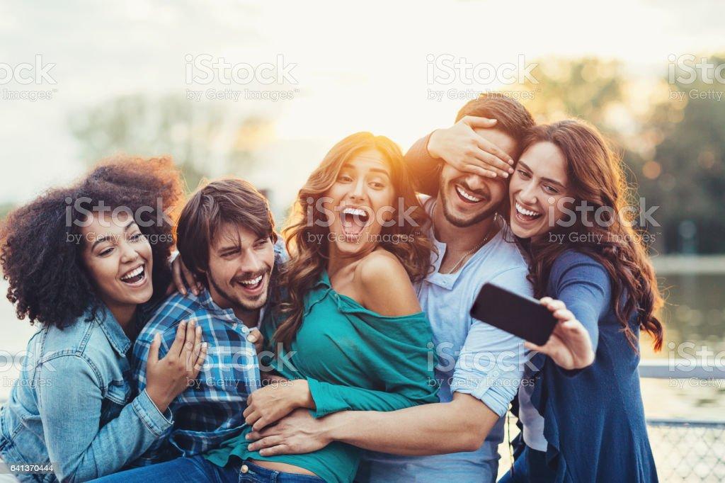 Selfie of fun and frienship stock photo
