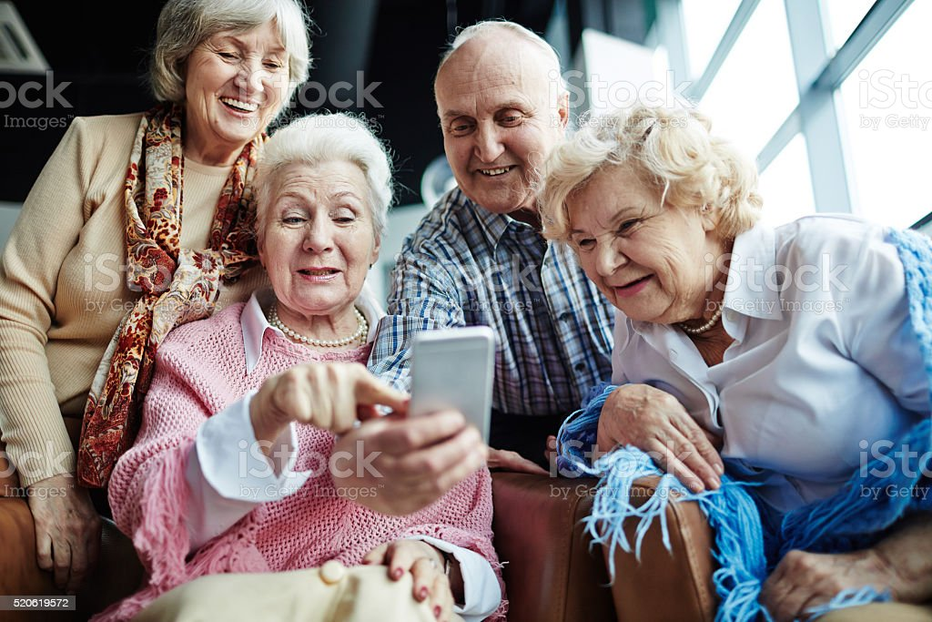 Selfie of seniors stock photo