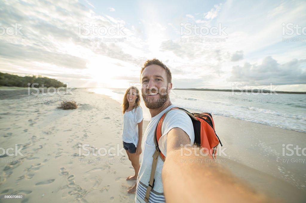 Selfie of summer vacation on beach stock photo