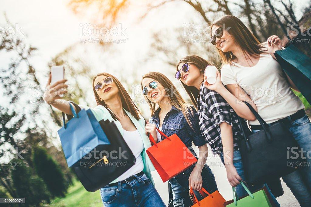 selfie of women stock photo