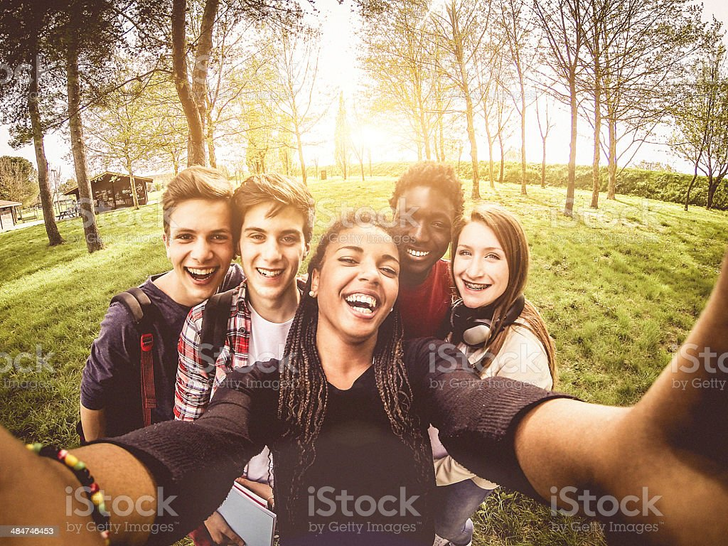 Selfie of young multiethnic friends in a park stock photo