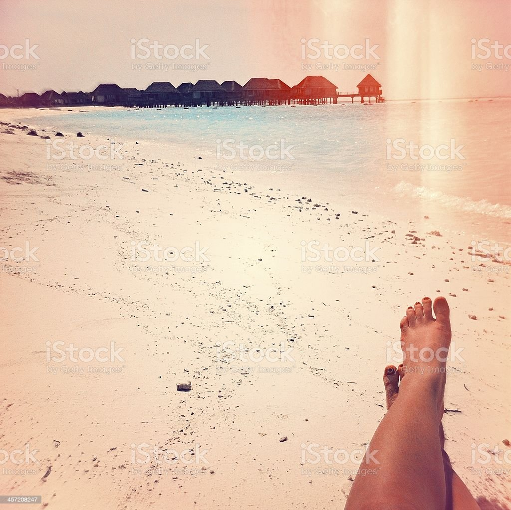Selfie on a tropical paradise stock photo