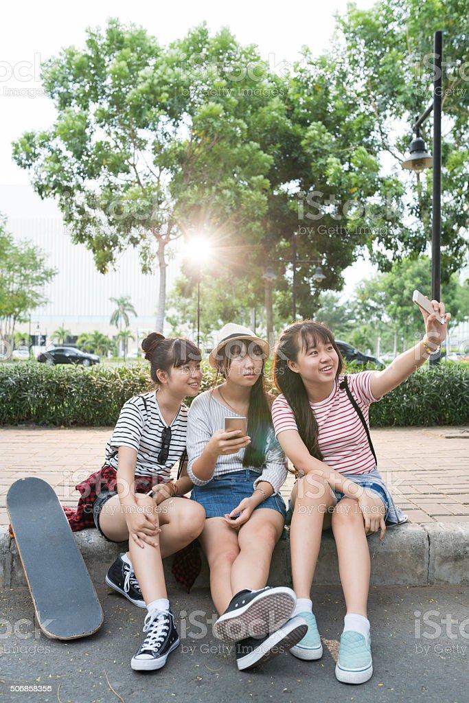 Selfie on pavement stock photo