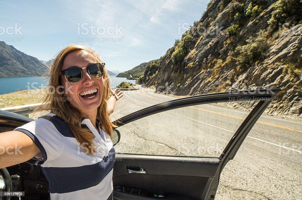 Selfie on road trip, New Zealand stock photo