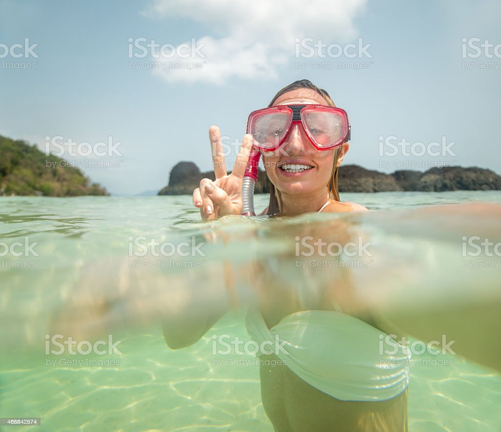 Selfie on snorkelling trip underwater stock photo