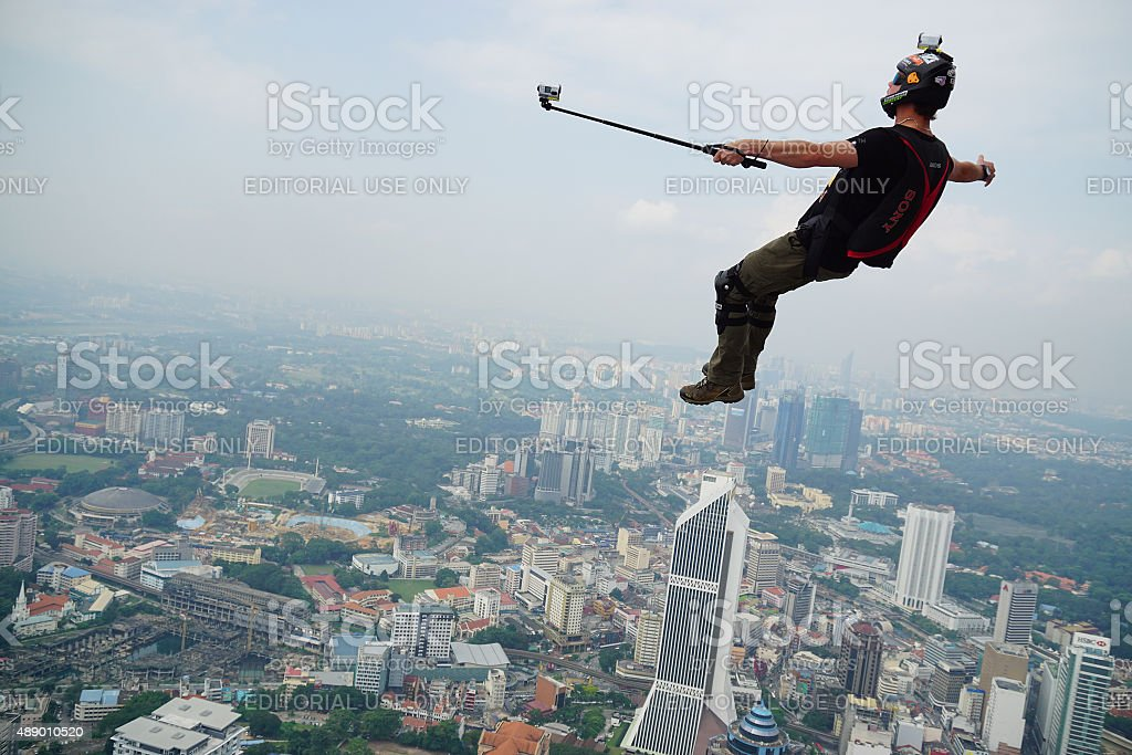 Selfie on the air and jump stock photo