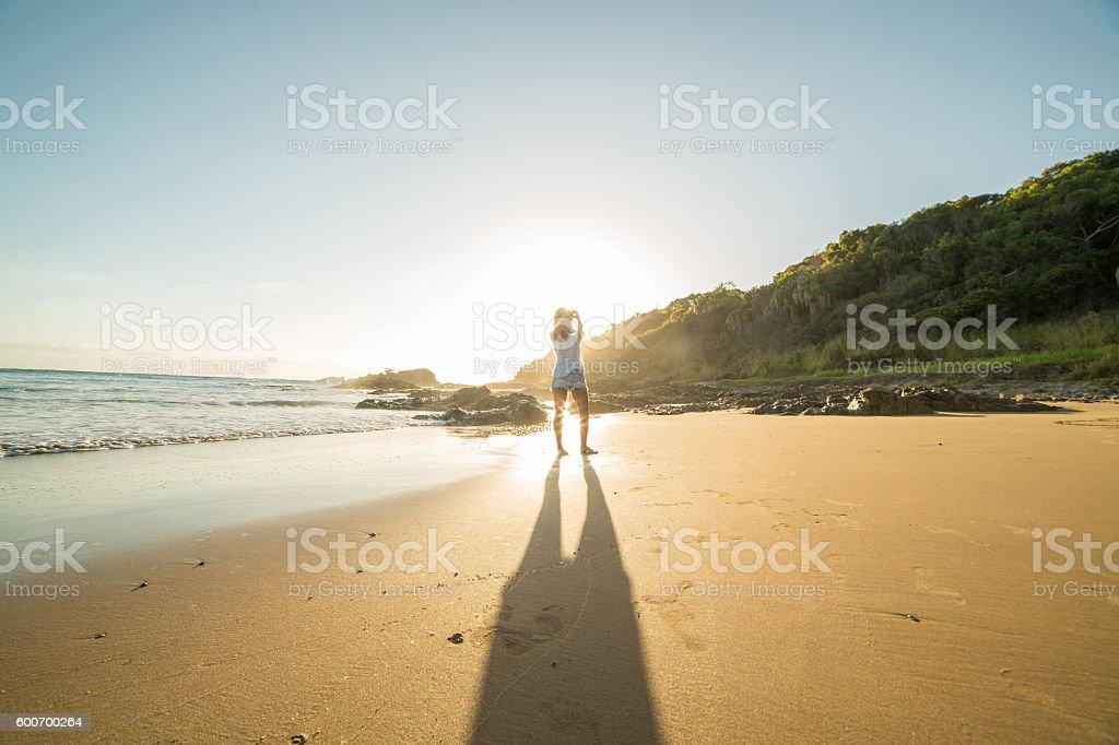 Selfie on the beach stock photo