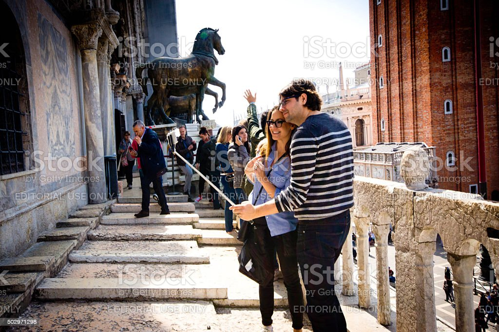 Selfie on the Roof of the basillica in Venice stock photo