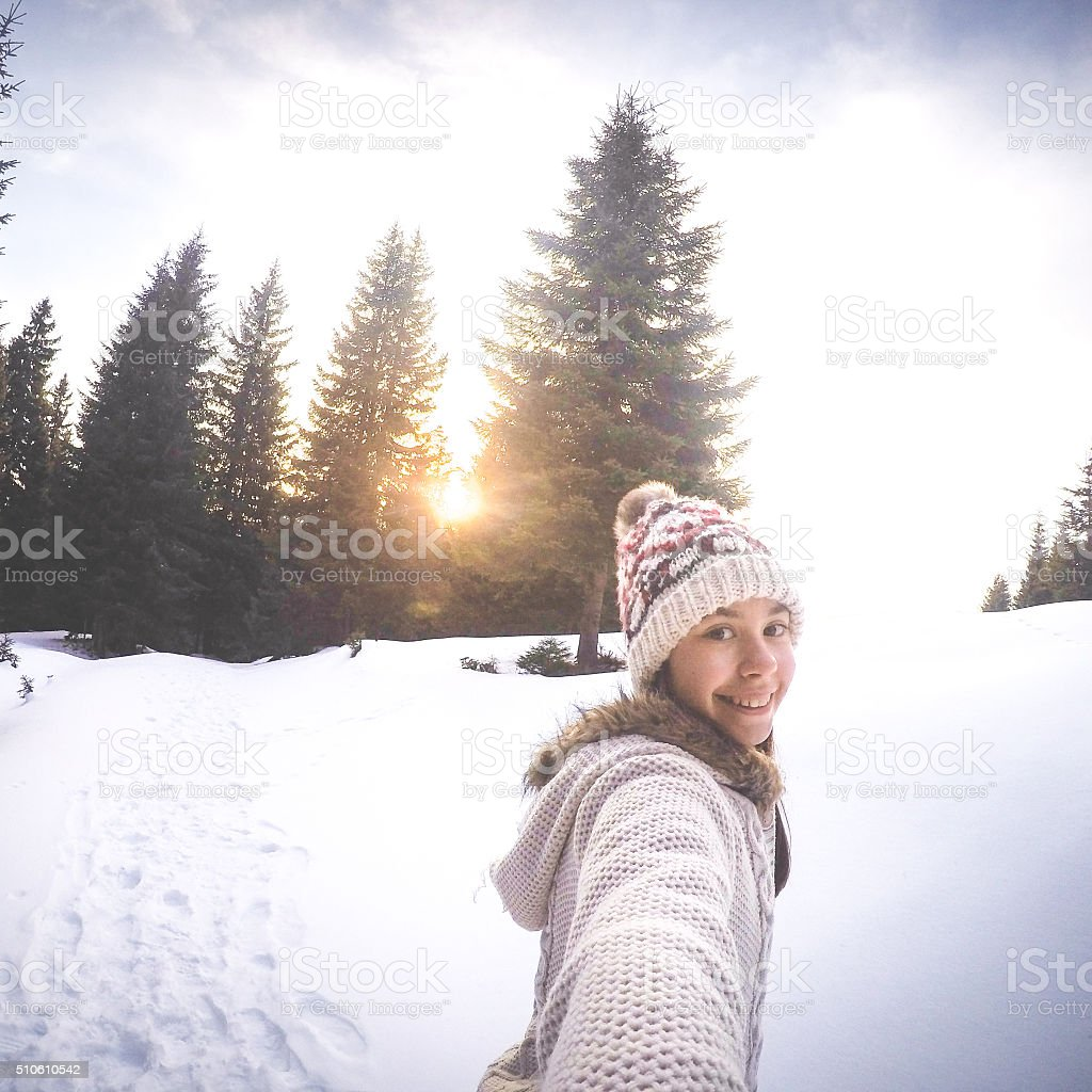 Selfie on the snow stock photo