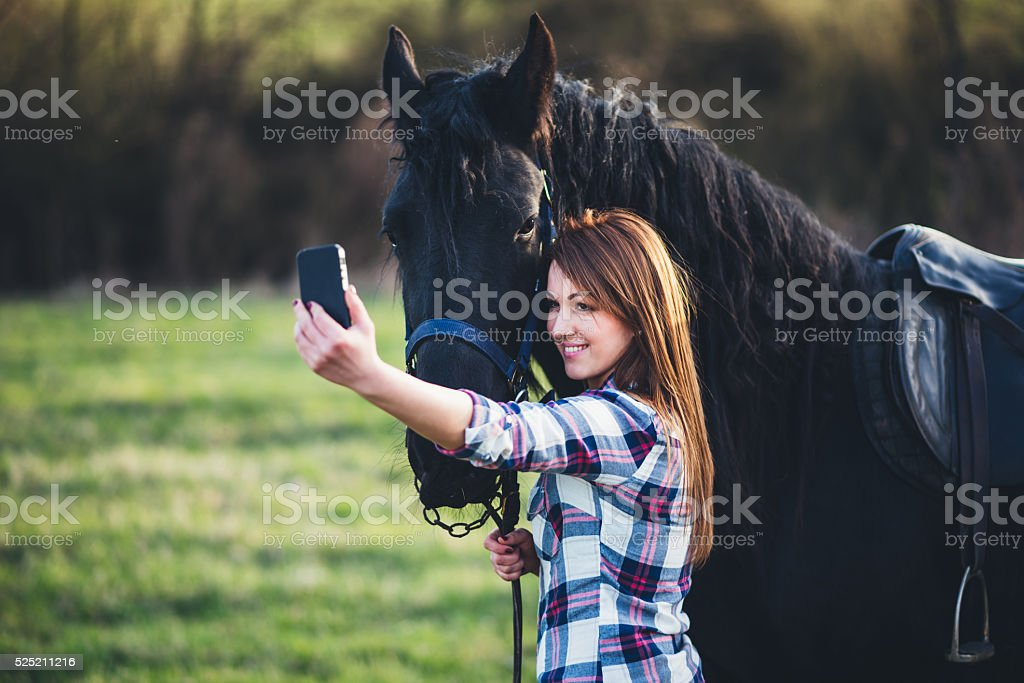 selfie photo with horse stock photo