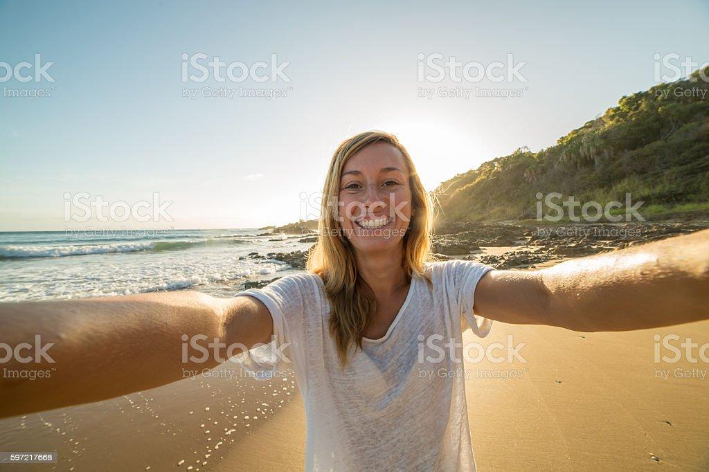 selfie portrait at sunrise stock photo