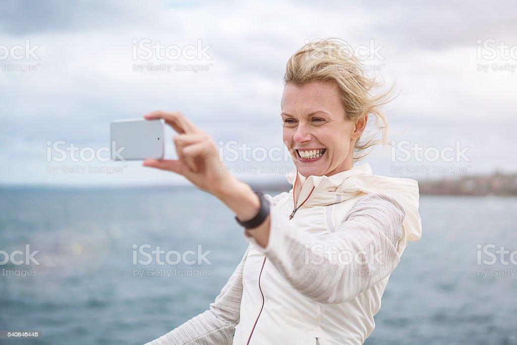 Selfie Smile Sport Woman Australia Bondi Beach stock photo