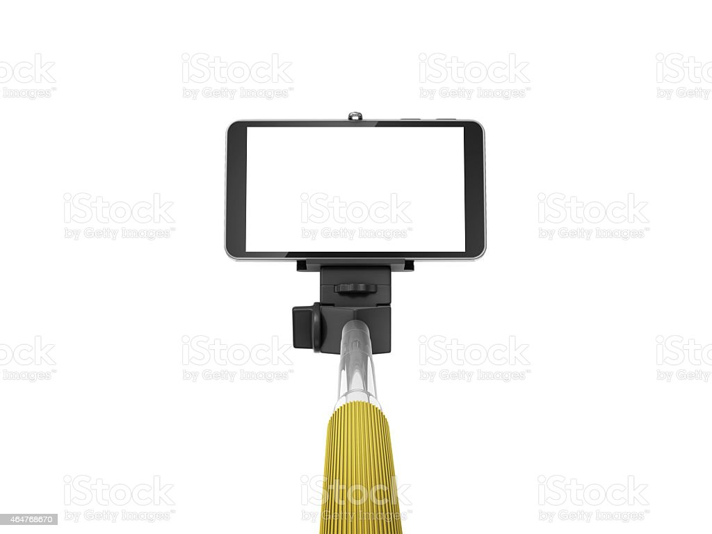 selfie stick with mobile phone stock photo