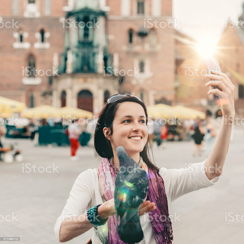 Selfie time in Krakow stock photo