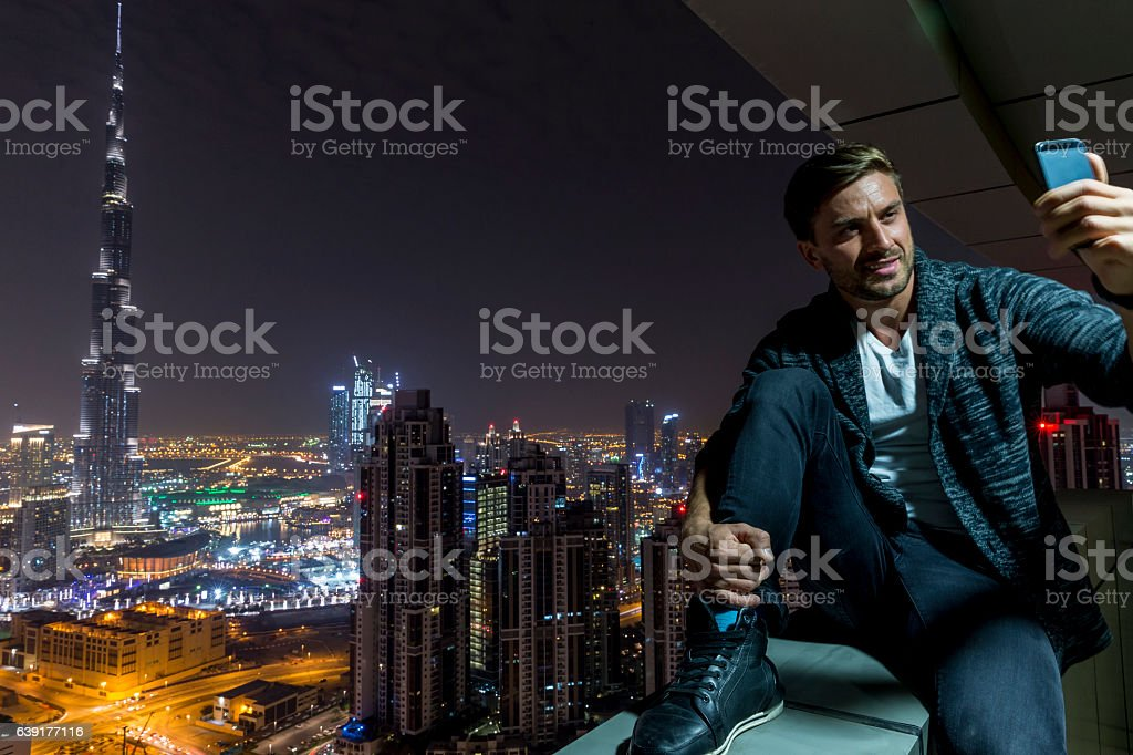 Selfie to remind me that I was in Dubai stock photo