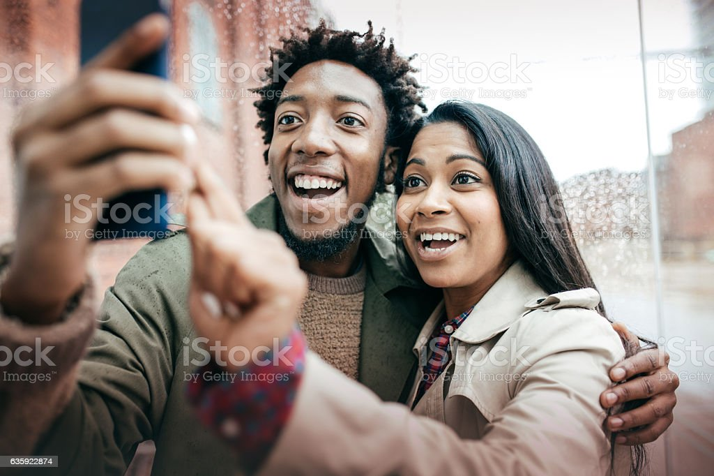 selfie together stock photo