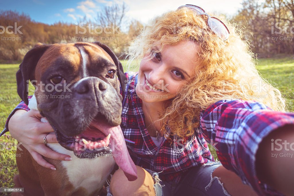 Selfie with a dog stock photo