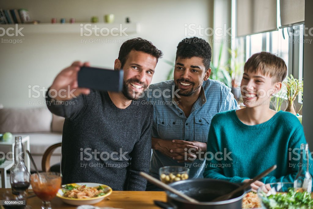 Selfie with best friends stock photo
