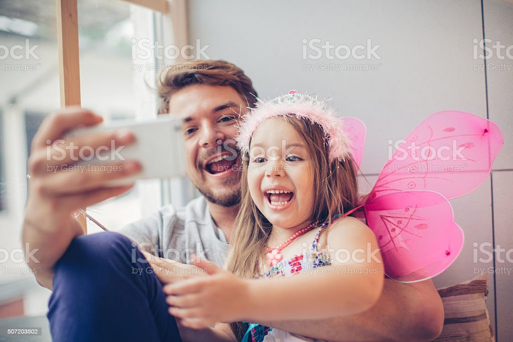 Selfie with my little  fairy stock photo