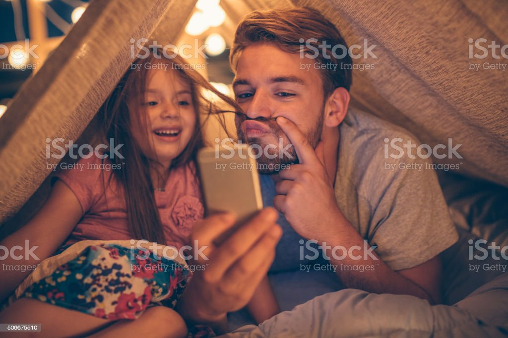 Selfie with my little girl stock photo