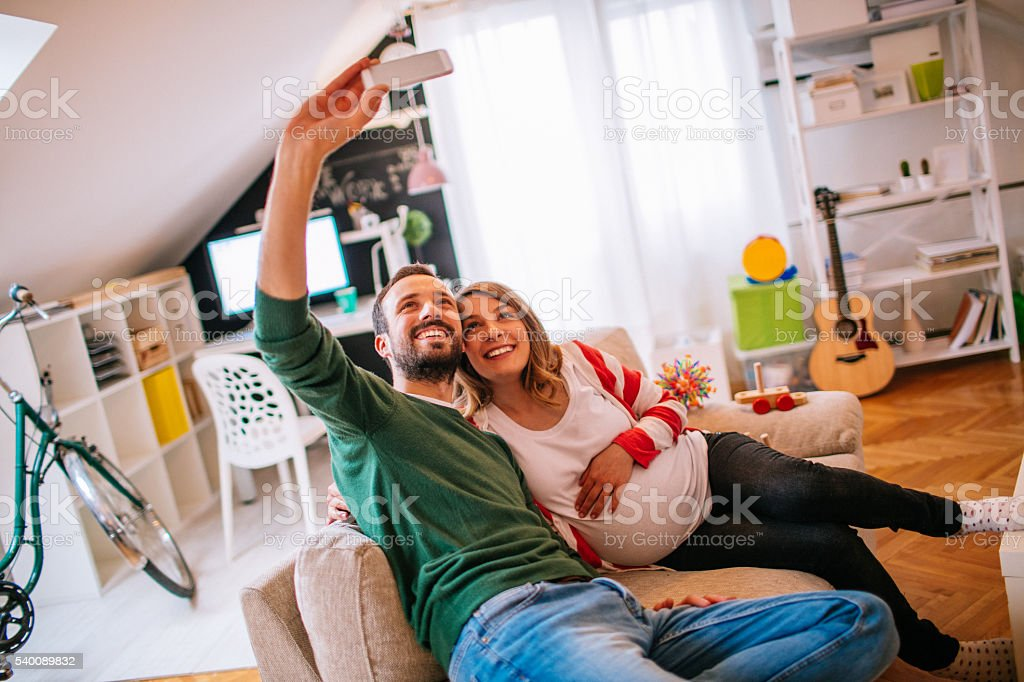 Selfie with my pregnant lady stock photo