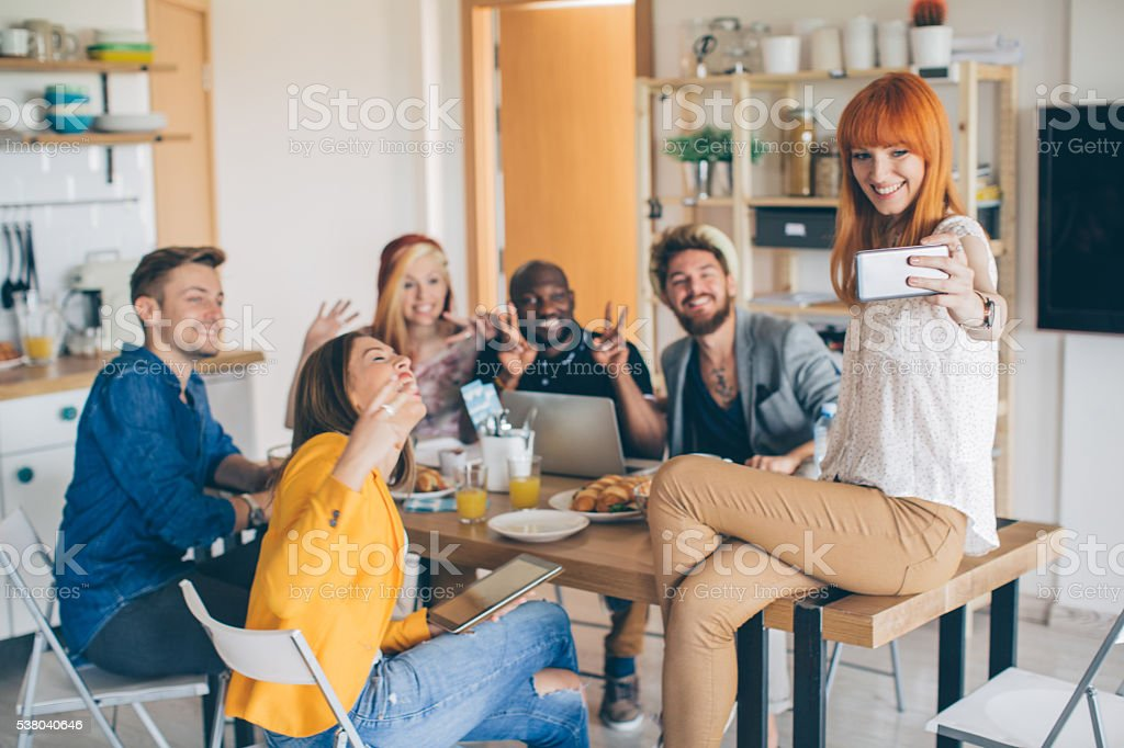 Selfie with new roommates stock photo