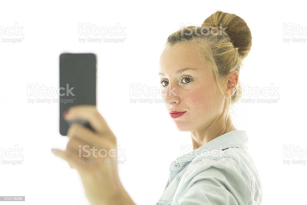 Selfie with smart phone stock photo
