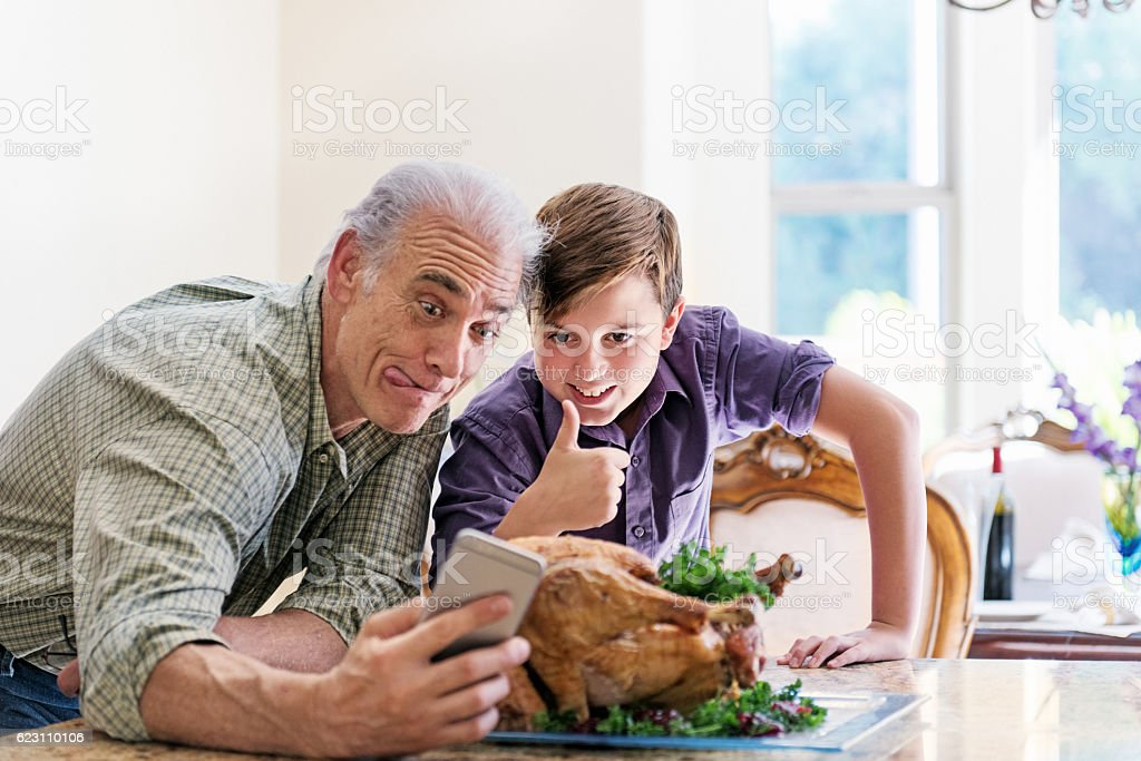 Selfie with the turkey stock photo