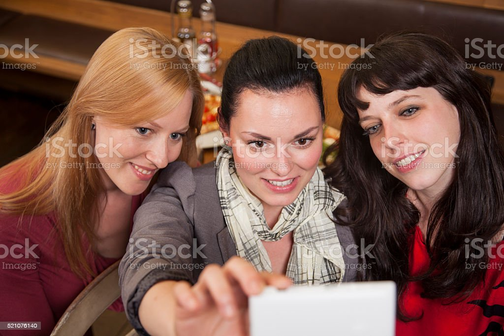 Selfie with three young woman stock photo