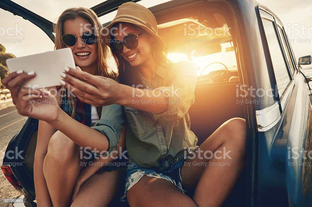Selfies at sunrise stock photo