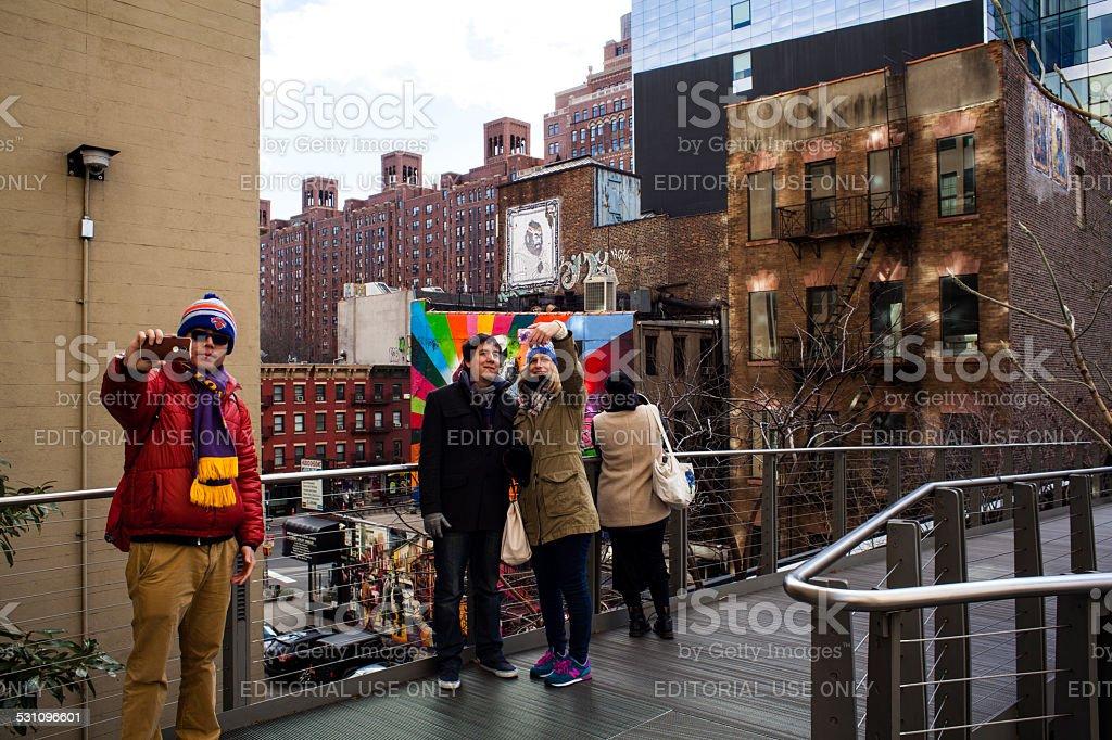 Selfies on High Line Kobra AI Weiwei 25th street. stock photo