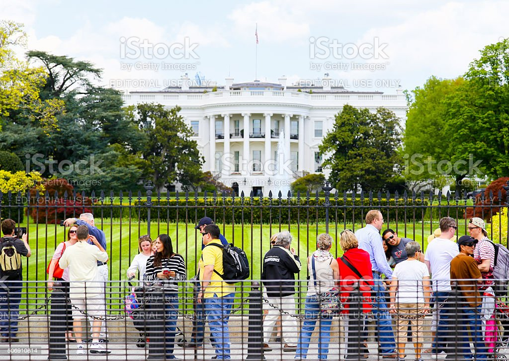 Selfies with the White House stock photo