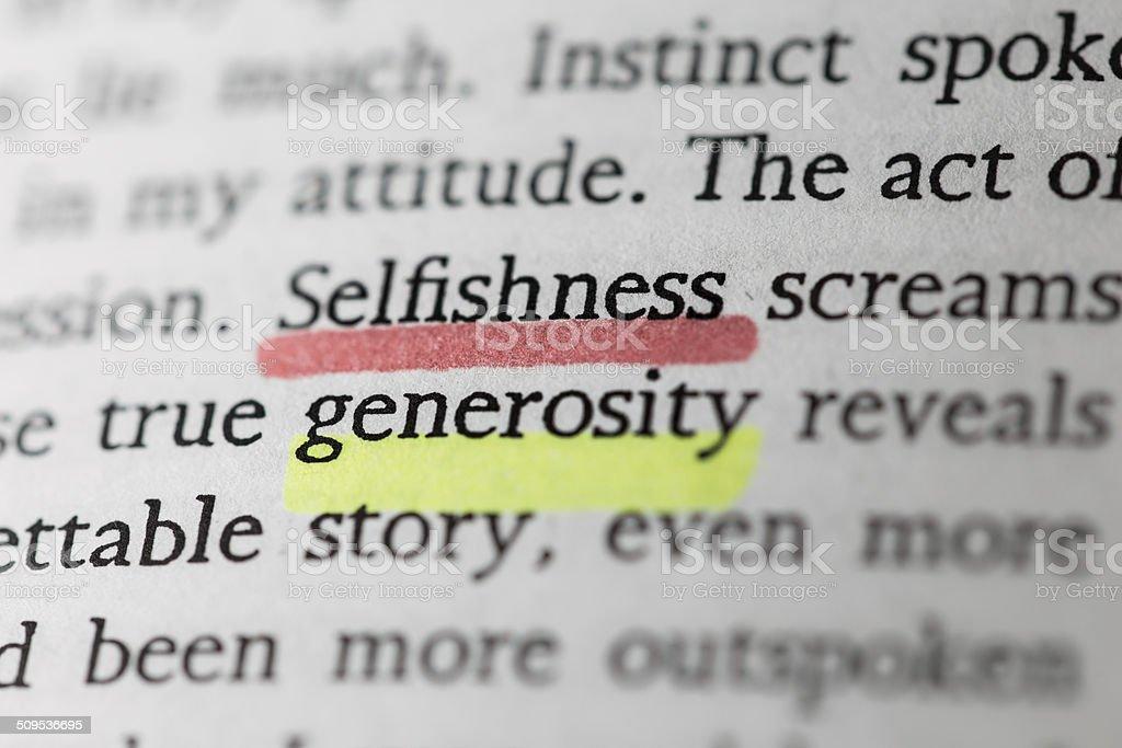 Selfishness and generosity stock photo