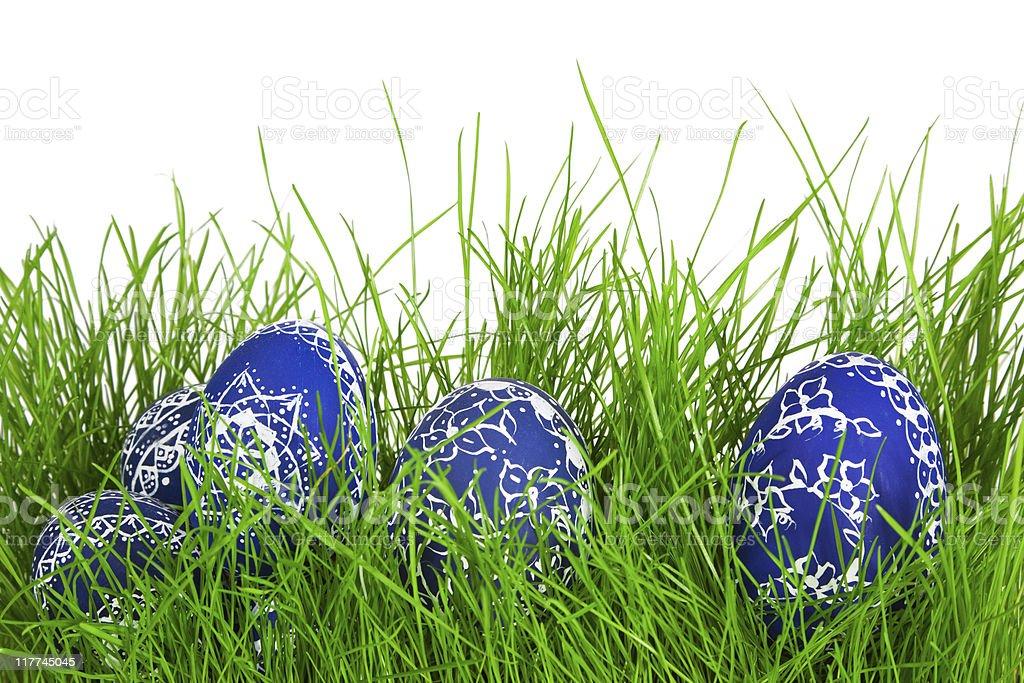 Self-made blue Eggs stock photo