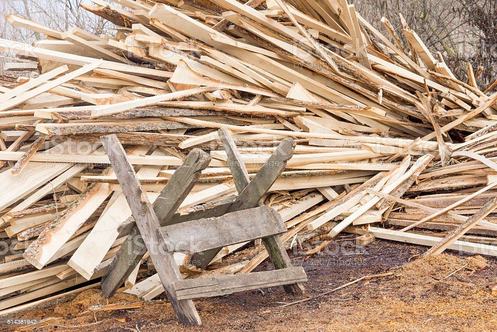 Self-made sawbuck stock photo