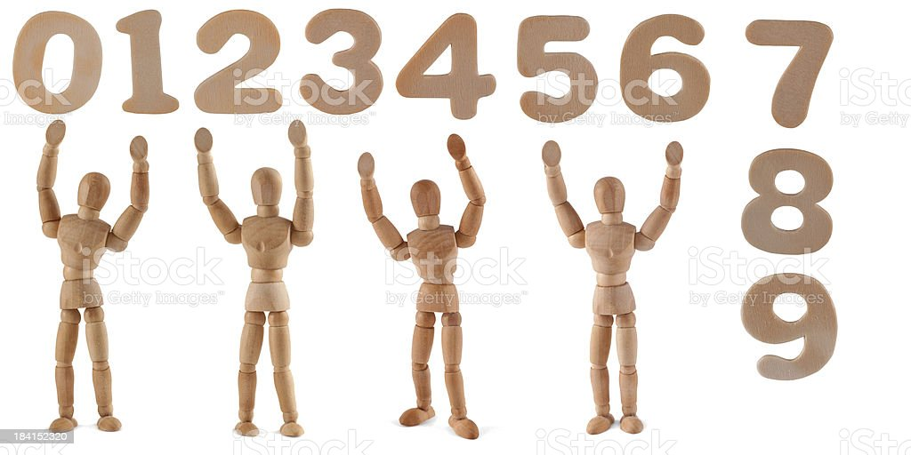 Selfmade! - wooden mannequins and ciphers royalty-free stock photo