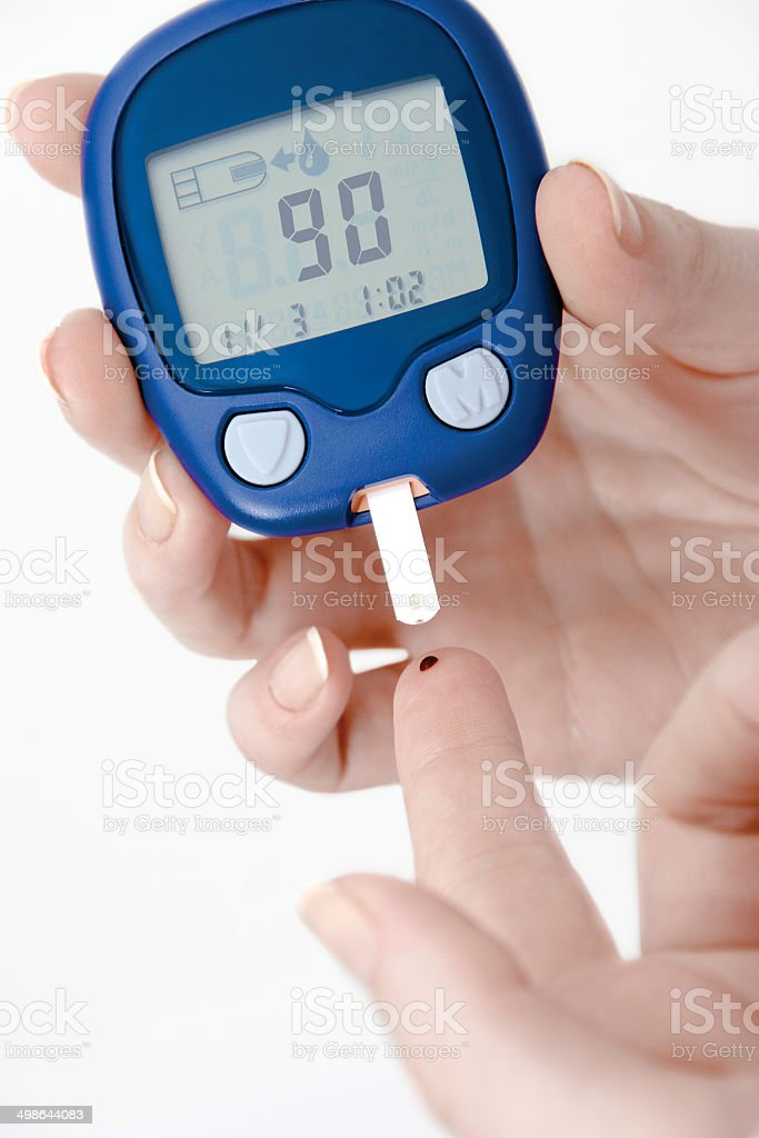 Self-monitoring of blood glucose royalty-free stock photo