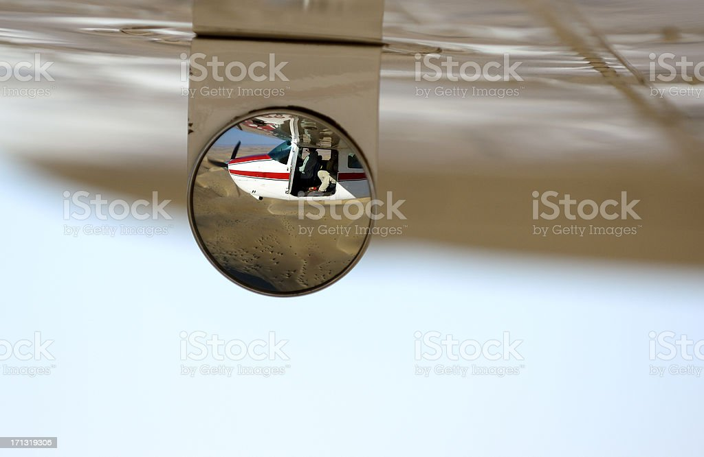 Selfportrait in a cessna over the namib desert stock photo
