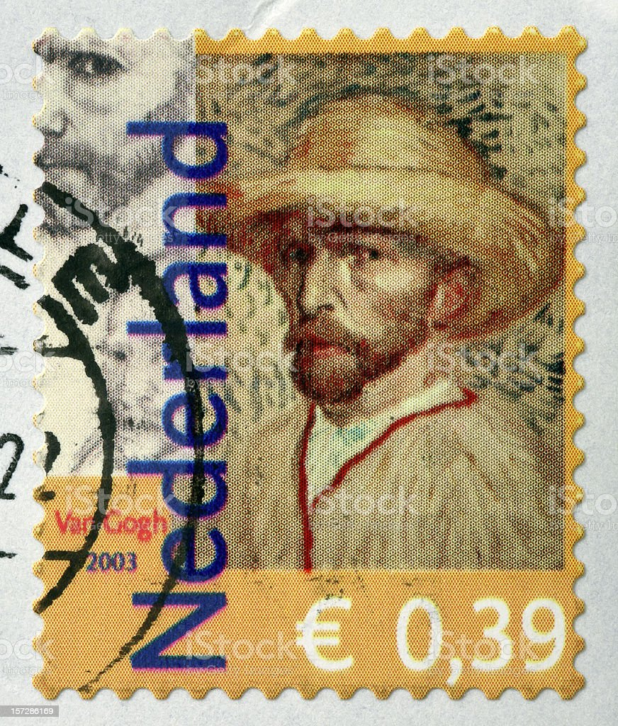 Selfportrait of famous painter Van Gogh on Dutch stamp (2003) stock photo