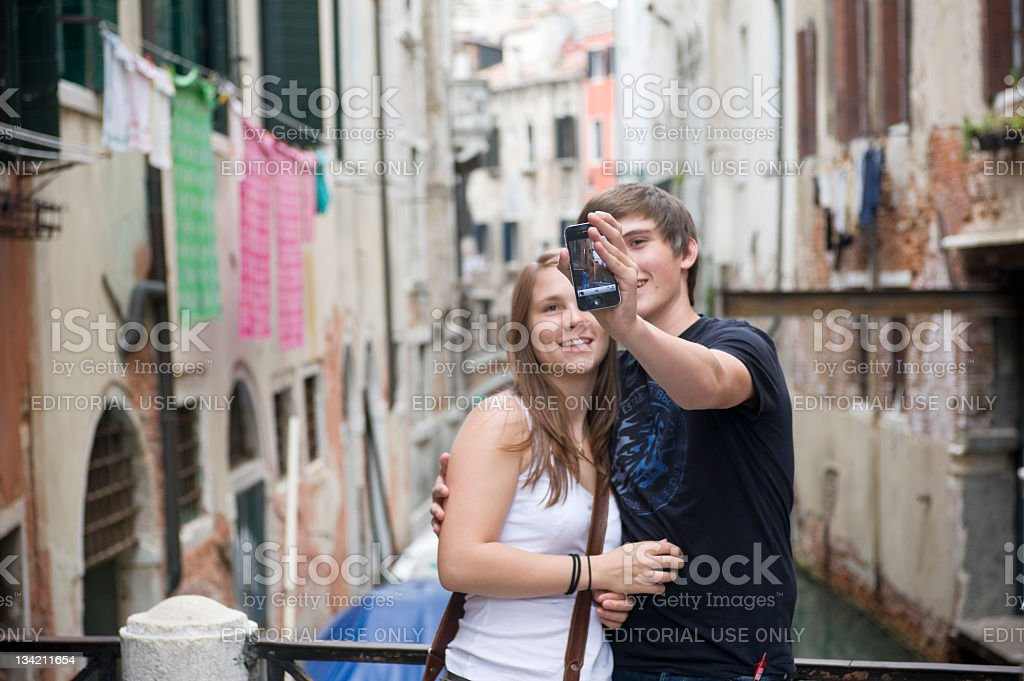 Self-portrait with iPhone royalty-free stock photo