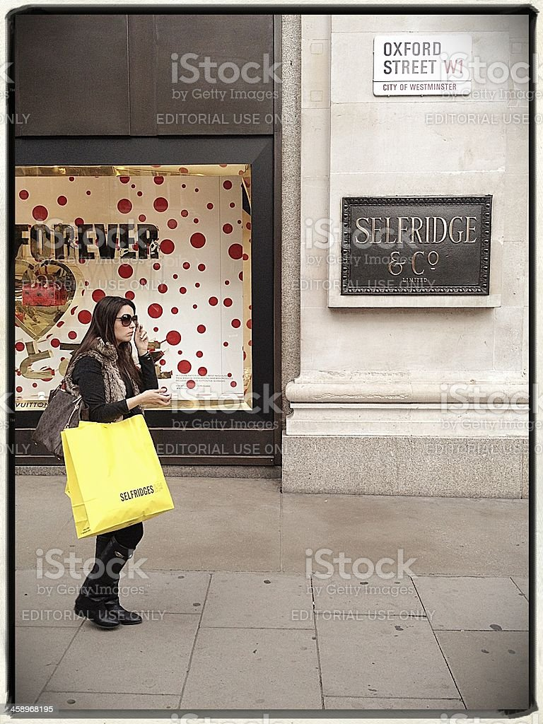 Selfridge Shopper, Oxford Street, London royalty-free stock photo