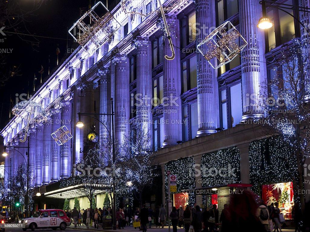 Selfridges department store, London at night stock photo
