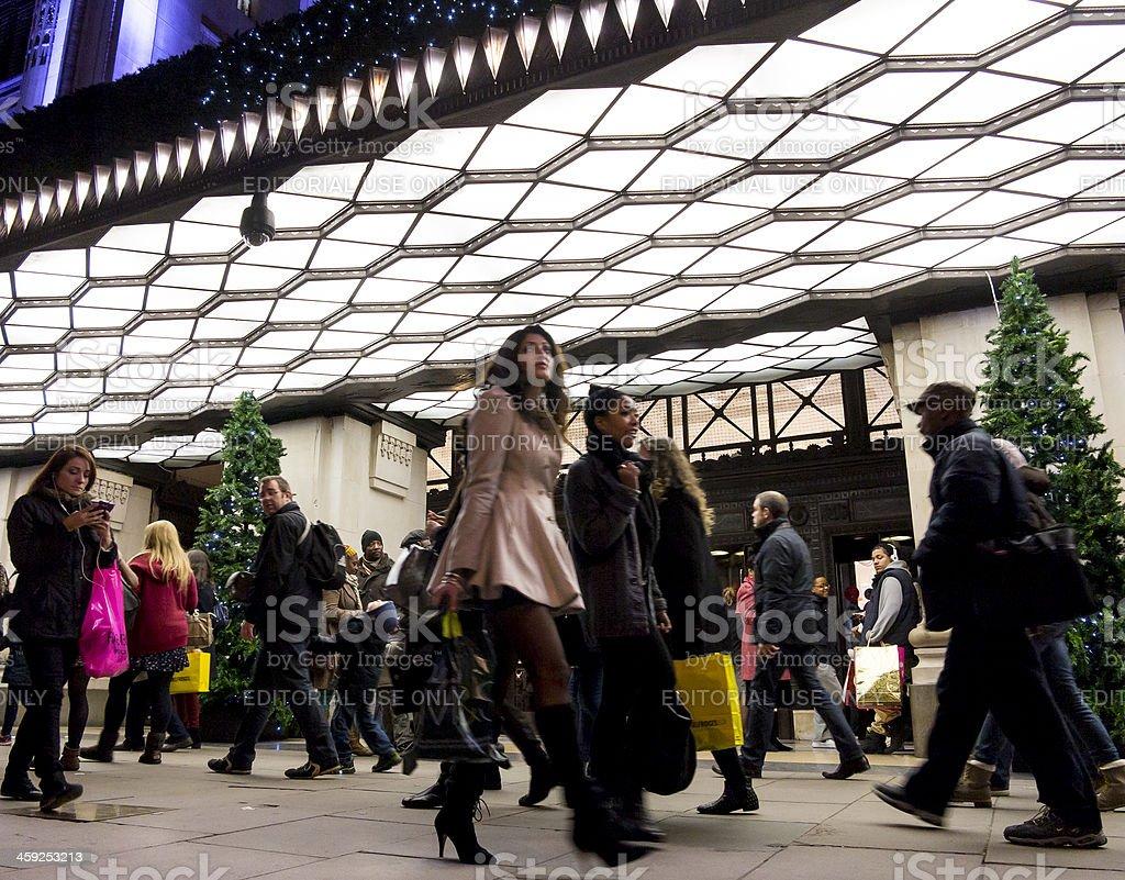 Selfridges store, London - people shopping at night stock photo