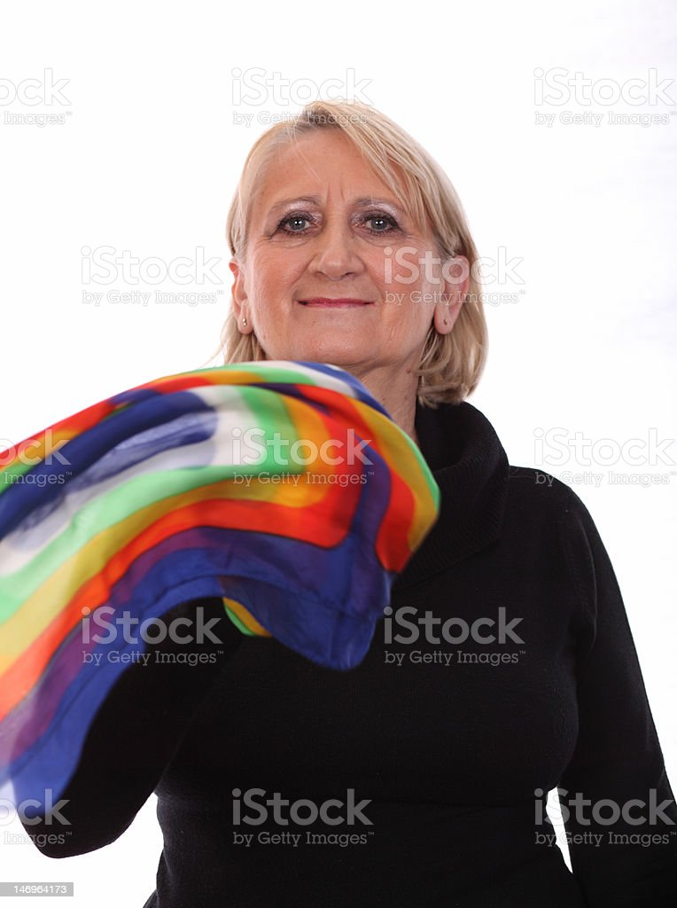Self-satisfied  womanhood with colourful scarf royalty-free stock photo