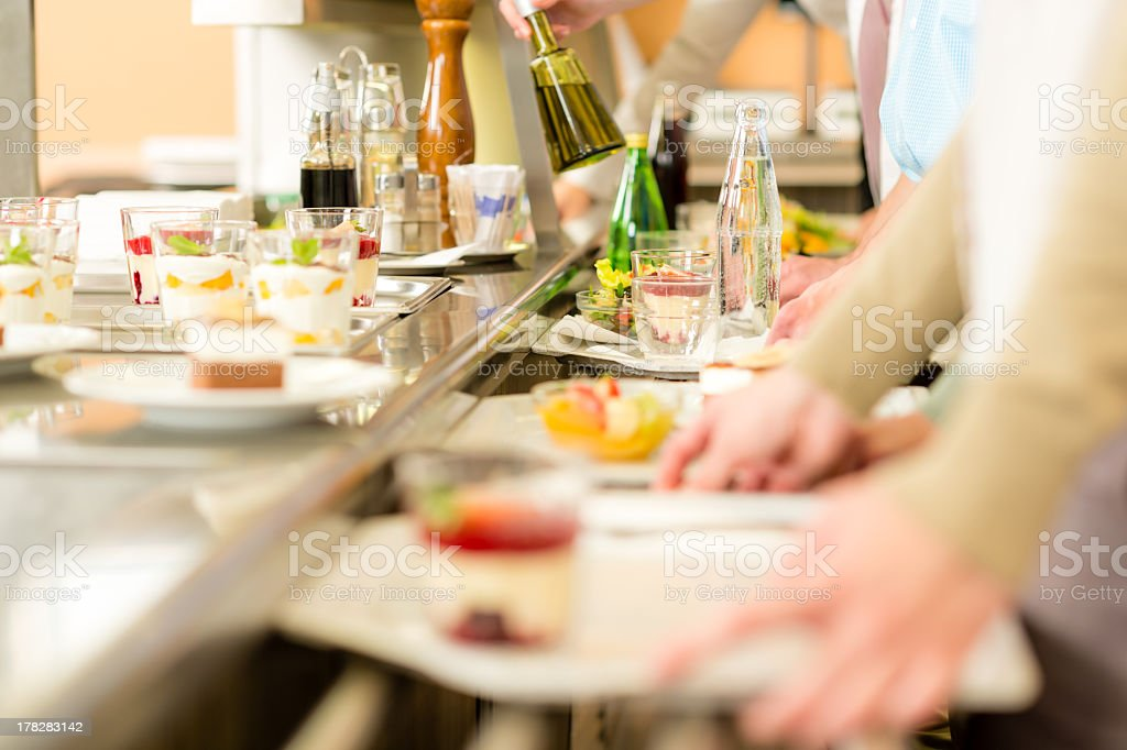 Self-service dessert canteen in cafeteria stock photo